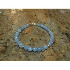 14kt Yellow Gold & Aquamarine Gemstone Bracelet 7.5""