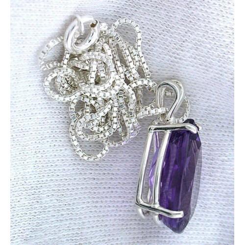 Amethyst Italian Sterling Silver 18 Inch Chain Pendant