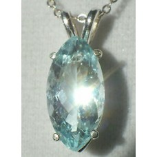 "2.66ct Blue AQUAMARINE 14x7mm Marquise.925 Sterling Silver Pendant 18"" Necklace"