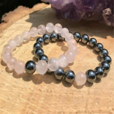 2pcs 8mm Natural Hematite & Rose Quartz Handmade Mala Bracelet Meditation
