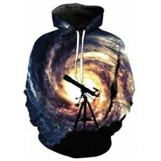 3D Telescope Galaxy Print Pullover Cool Hoodie