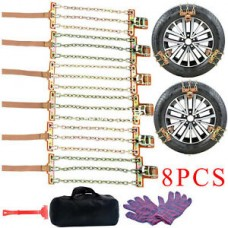 8PCS Snow Chains, Tire Chains for Suvs,  Sedan, Family Automobiles,Heavy Trucks