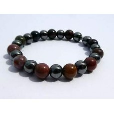 8mm Bloodstone and Hematite Stretch Bracelet