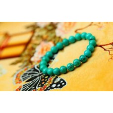 8mm Genuine Natural Green Turquoise Bracelet Gemstone Prayer Beads High Quality
