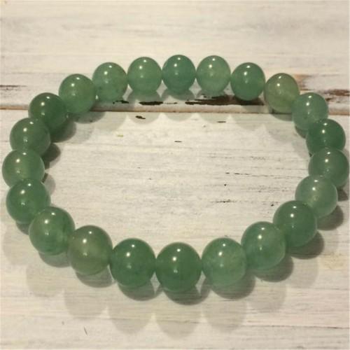 8mm Green Aventurine Beads Handmade Bracelet 7.5inch Cuff Lucky Wrist Buddhism