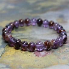 8mm Natural Amethyst Handmade Mala Stretch Bead Bracelet Meditation Unisex Pray