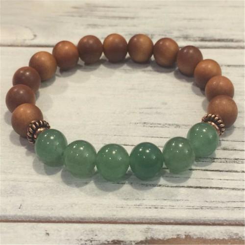 8mm Natural Green Aventurine Handmade Mala Bracelet Pray Healing Cuff Wrist