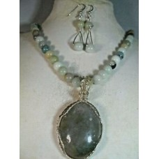 handcrafted amazonite necklace, earrings dendritic moss agate pendant
