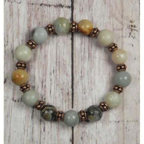 Amazonite Copper Spacer Multicolored Stretch Bracelet Handmade