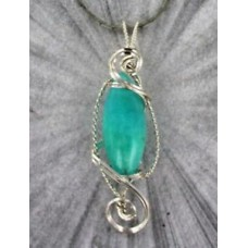 Amazonite Pendant Necklace  Handcrafted  in Sterling Silver  Wire Wrapped