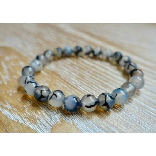 Black Poet's Tourmaline Stone Bracelet Beads Yoga Reiki Charm Natural Gemstone
