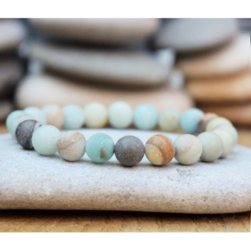 Boho Amazonite Beaded Bracelet Men Women Yoga Mala Beads Meditation Jewelry