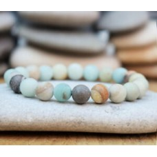 Boho Amazonite Beaded Bracelet Men Women Yoga Mala Beads Meditation Jewelry