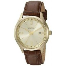 Caravelle New York Men's 44B109 Gold Tone Brown Leather Strap Watch