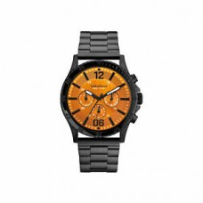 Caravelle New York Men's Black Stainless Orange Dial Chronograph Watch 45A108