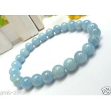 Genuine 8mm Natural Light Blue Aquamarine Gemstone Round Beads Stretch Bracelet
