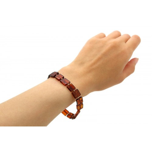 Baltic Cognac Amber Stretch Bracelet For Women