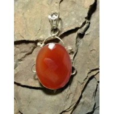 Handcrafted Large Carnelian 925 Pendant Fauceted Stone