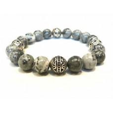 Handmade   Unisex Map Jasper Gemstone &   Silver   Bead Bracelet