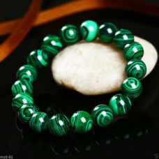 Handmade Natural 8mm Green Malachite Round Gemstone Beads Stretch Bracelet