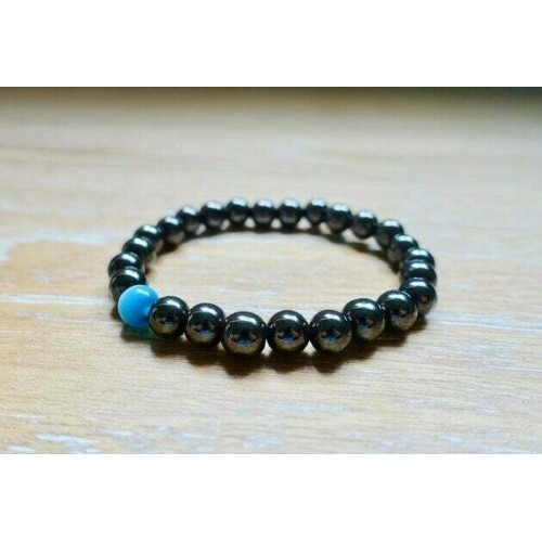 Hematite & Blue Aquamarine Stone Bracelet 8mm Beads Reiki Yoga Natural Gemstone