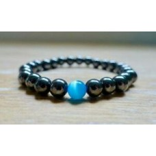 Hematite & Blue Aquamarine Stone Bracelet 8mm Beads Reiki Yoga Natural Gemstone