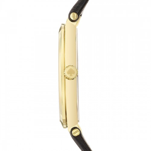 Kate Spade New York Women's  Gold Stainless Steel Black Leather Watch