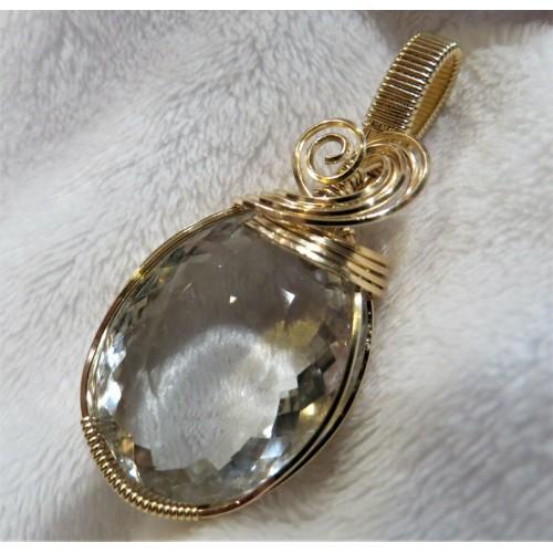 Large Natural Light Green Amethyst Gemstone Pendant Slide in 14k Gold Filled
