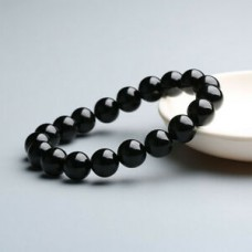 Handmade Stone Bracelet Natural Fashion Black Agate Onyx Beads Bangle