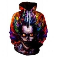 Men's Casual Plus Size Black 3D Print Hoodie Demon Print Sweatshirt