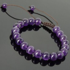 Men's Women Adjustable Bracelet Braided with Amethyst 8m Beads DIY-KAREN 813