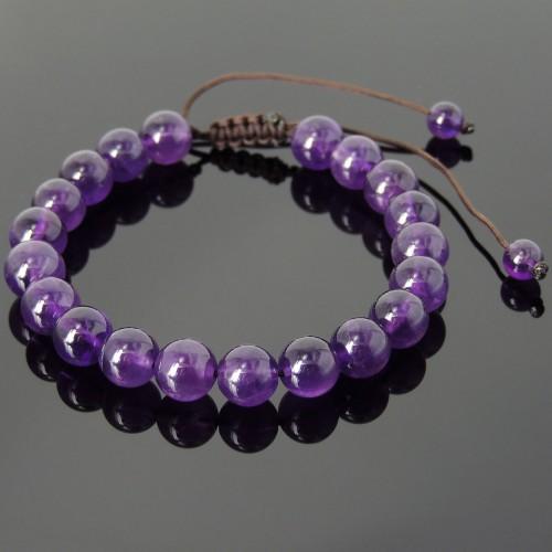 Men's Women Adjustable Bracelet Braided with Amethyst 8m Beads DIY-KAREN 813