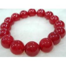 Red Ruby Gemstones Round Bead Bangle