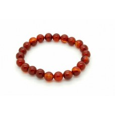 "Natural Carnelian Smooth Round Sphere Gemstone Beads 8"" Elastic Cord Bracelet"