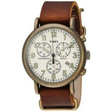New Timex Men's TW2P85300 Weekender Chrono Oversize Antiqued Brass Brown Leather