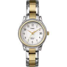 New Timex T25771 White Dial Two Tone Steel Bracelet Strap Indiglo Women's Watch
