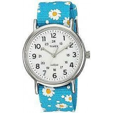 New Timex TW2R24000 Weekender Blue Floral Nylon Strap Watch for Unisex