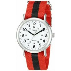 New Timex Unisex TW2P68000 Weekender Varsity Row Analog Display Quartz Red Watch