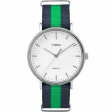 New Timex Unisex TW2P90800 Fairfield 41 Blue & Green Nylon Slip-Thru Strap Watch