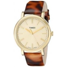 New Timex Women's Originals Tortoise Patent Leather w Champagne Dial T2P237