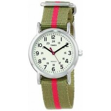 """New Timex Women's T2N917 """"Weekender"""" Watch with Olive Green and Pink Nylon Strap"""
