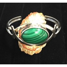 Sterling Silver Criss-Cross Cuff Bracelet with 28.5 Carat Malachite Gemstone