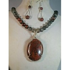 Bloodstone necklace,earrings Blodstone pendant