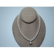 """16"""" Fresh Water Pearl Beaded Necklace With Mother-of-pearl Pendant.  Silver Plated Toggle."""