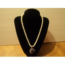 """16"""" Freshwater Pearls With Amethyst Gemstone And Sterling Silver Clasp."""