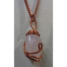 Rose Quartz Pendant Copper 20 Inch Length Solid Copper Chain - 5/16 Of An Inch Wide