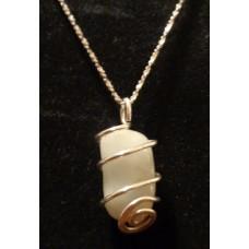 Aquamarine Pendant Silver 20 Inch Length Silver Chain