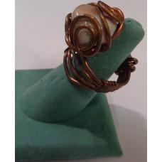 Agate Botswana Copper Weavewire Ring