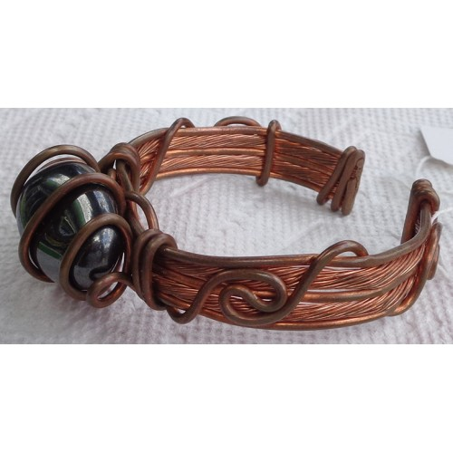 Hematite Copper Heavy Wire Bracelet