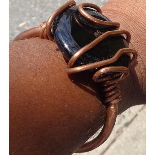 Black Onyx  Copper Heavy Wrap Bracelet